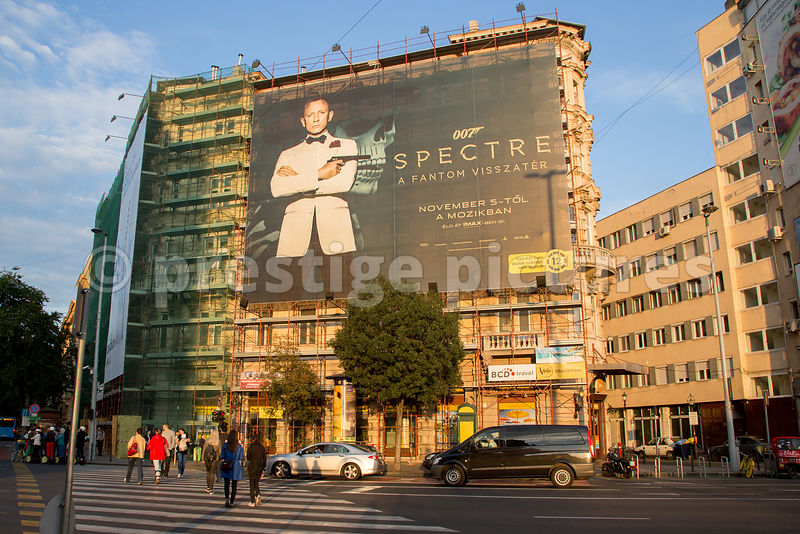 Huge Advertising Banner for film 007 Spectre in Budapest