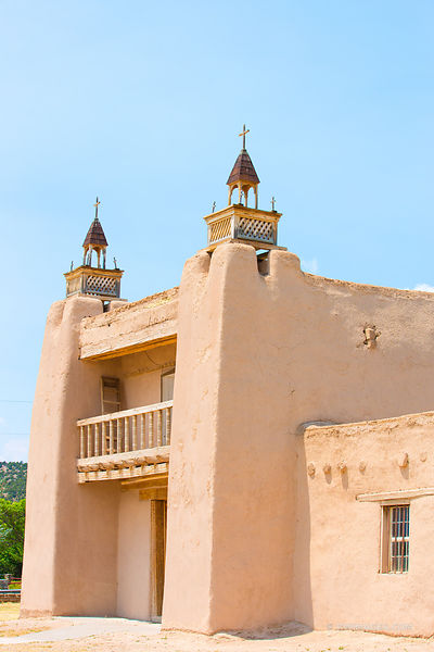 SAN JOSE DE GRACIA CHURCH LAS TRAMPAS HIGH ROAD TO TAOS NEW MEXICO COLOR VERTICAL