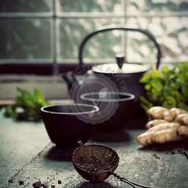 Tea composition near the old window