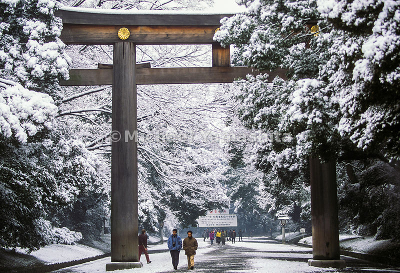 A large torii, entrance gate, frames a snowy scene at the Meiji Jingu in Tokyo, Japan.