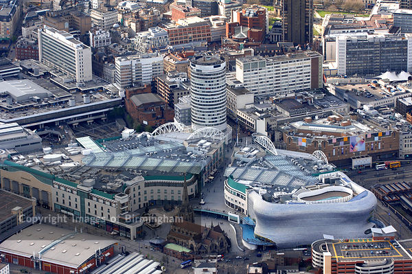 Birmingham from the air, including the Selfridges shop building at the Bullring Shopping Centre in Birmingham, England, UK.