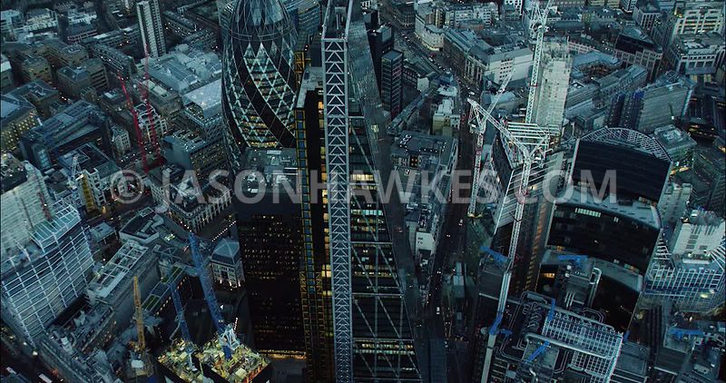 London Aerial Footage of City of London Leadenhall Building close up.