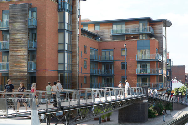 The bridge leading from the Mailbox towards Brindleyplace in Birmingham, West Midlands.
