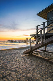 San Clemente Lifeguard Tower 1 and Pier Sunset Photo