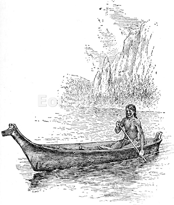 Puget Sound Indian in a canoe