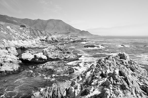 BIG SUR PACIFIC COAST HIGHWAY CALIFORNIA BLACK AND WHITE
