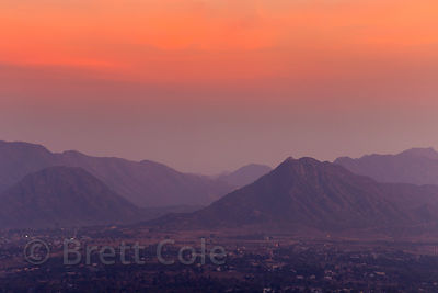 Pre-sunrise view of Savitir Mountain and temple near Pushkar, from a mountaintop near Majhewla village, Rajasthan, India