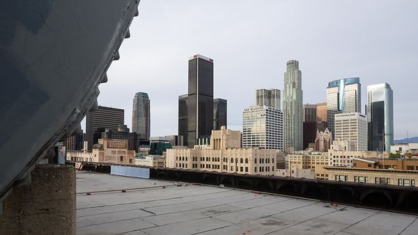 Medium Shot: Foreground Variant of Rooftop Reveal of Downtown L.A. Skyline