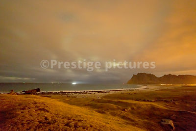 Haukland Beach at night