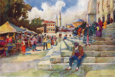 Market at mosque of Sultan Ahmed I by Warwick Goble