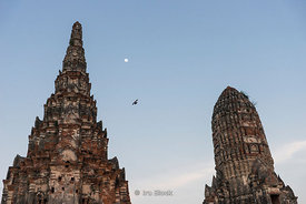 Wat Chaiwatthanaram, a Buddhist temple in the city of Ayutthaya, Thailand in the evening.  One of Ayutthaya's best known temples.