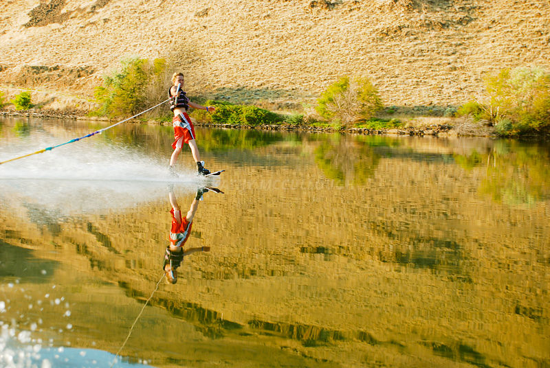 Boy slalom skiing in eastern Oregon