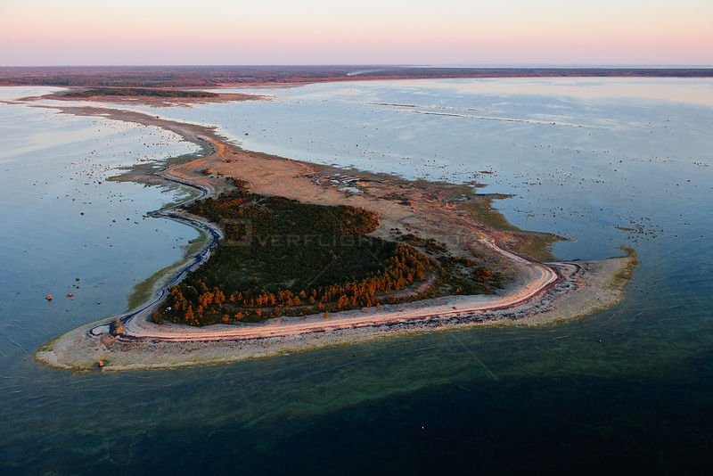 Tied island connected to the land by an isthmus. Hiiumaa Island, Estonia, Europe, April.