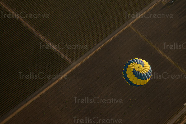 Looking down on top of a hot air balloon
