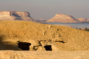 Ancient  tombs on Gebel Al-Matwa, Mountain of the dead, Siwa oasis, Egypt