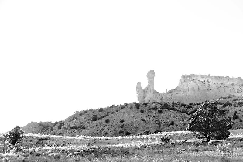 CHIMNEY ROCK GHOST RANCH ABIQUIU NEW MEXICO SUNSET BLACK AND WHITE