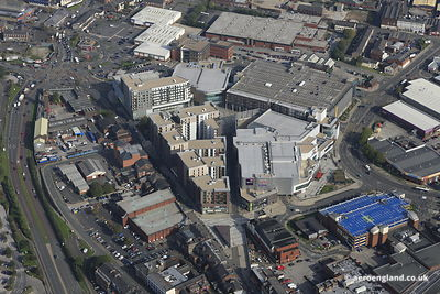 aerial photograph of The Rock Shopping Centre Bury Greater Manchester UK