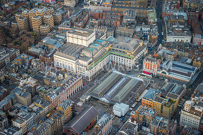Aerial view of London, Royal Opera House.