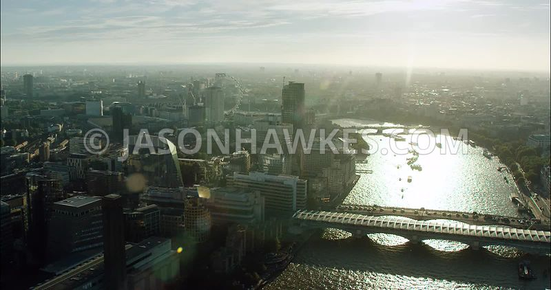 London Aerial Footage of Blackfriars Bridges towards The London Eye