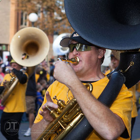 Members of the Alumni Band march in the University of Iowa homecoming Parade on Washington St in Iowa City on Friday September 28, 2012. (Justin Torner/Freelance)