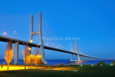 Vasco da Gama bridge and the Tagus river. Lisbon