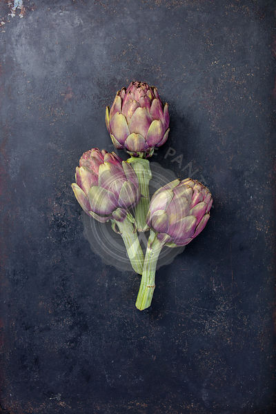 Top view of artichokes on gray background
