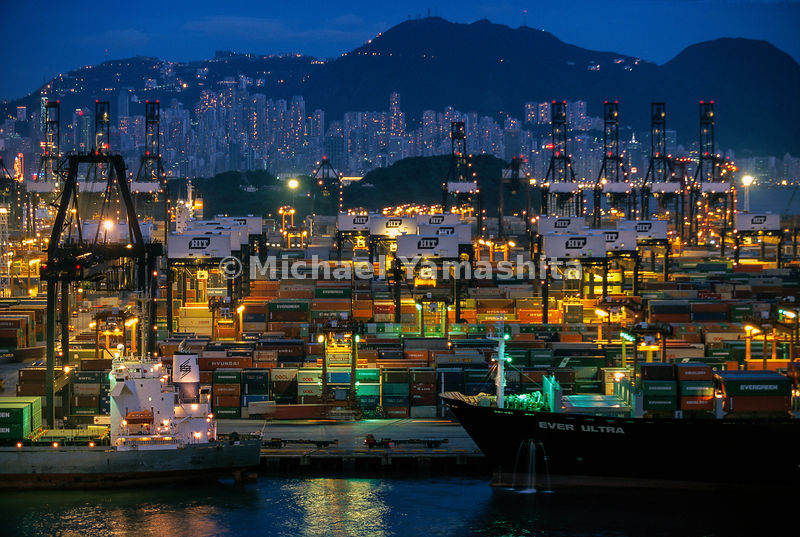 One of the world's biggest and busiest commercial ports: Much like Zheng He's treasure fleet, massive vessels transport modern treasures to eager consumers around the world.   Port of Hong Kong