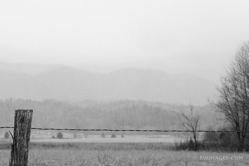 RAINY DAY IN CADES COVE SMOKY MOUNTAINS BLACK AND WHITE
