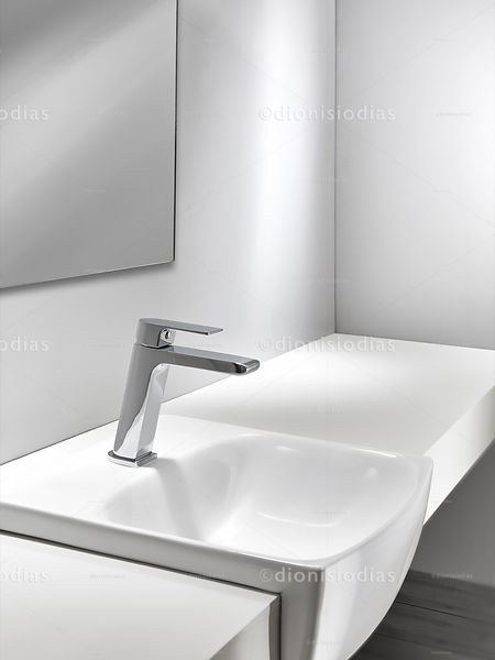 Diagonal view of bathroom sink bench without objects