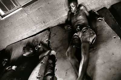 Sierra Leone - Freetown - former child soldiers locked in a room and coming off drugs