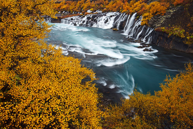 Hraunfossar waterfall in autumn, Iceland, September 2013.