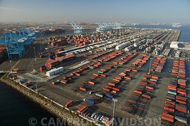 Aerial of the Long Beach California Port