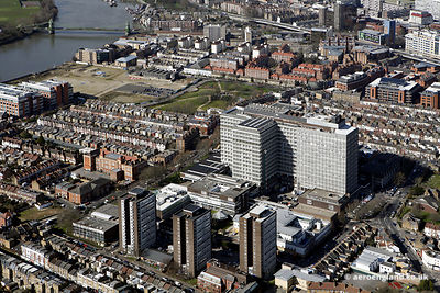 aerial photograph of Charing Cross Hospital London   England UK. Charing Cross Hospital is ageneral teaching hospital in Hammersmith. Also in the photo are Fulham Palace Rd, London W6 9ER, Claybrook Rd, London W6 8LN  and  Greyhound Rd, London W6 8NX