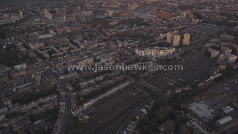 Aerial footage of London Euston Station and Somers Town