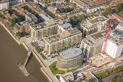 Aerial view of London, Distillery Wharf.