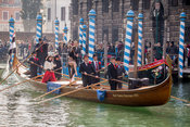 Boat carrying Tango Dancers in the Venice Carnival Water Parade  on the Rio di Cannaregio Canal