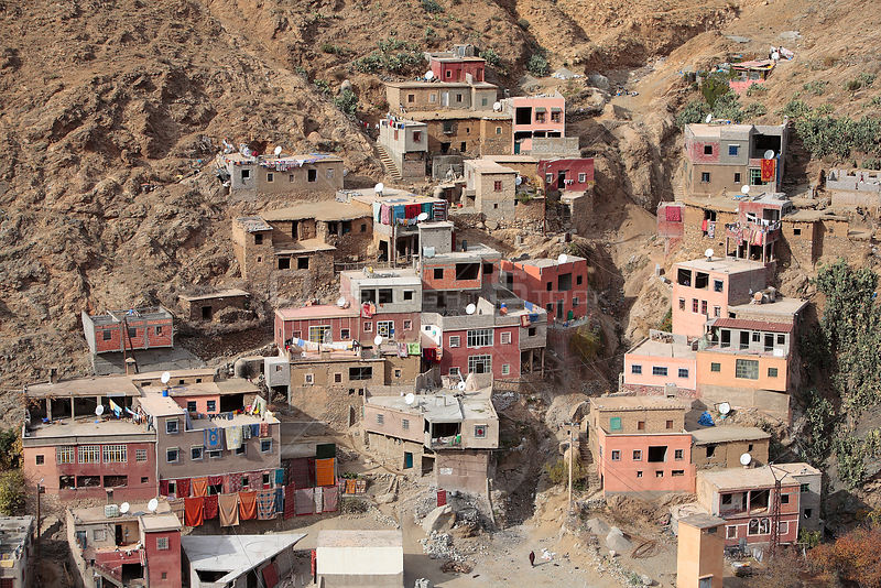 Aerial view of Setti Fatma on the hillslopes of the Ourika Valley, Morocco December 2007