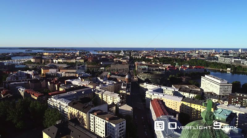 Helsinki City, Uhd Aerial View Over the Cityscape, Revealing the Kallio Church, on a Sunny Summer Morning Dawn, in Helsingfors, Uusimaa, Finland