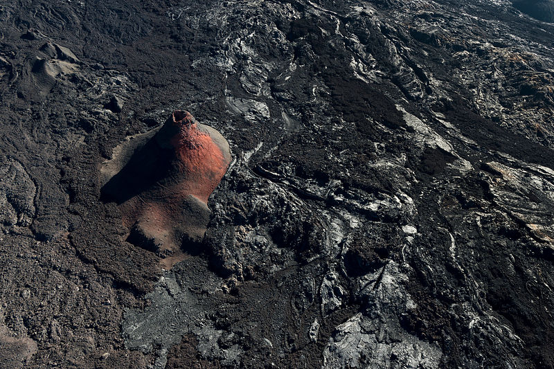 Volcano (Piton de la Fournaise) from helicopter, La Reunion. Small craters on southern flank