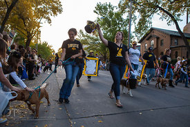 Parade participants pass by during the  University of Iowa homecoming Parade in Iowa City on Friday September 28, 2012. (Justin Torner/Freelance)