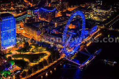 Aerial view of the London Eye and Jubilee Gardens at night, London