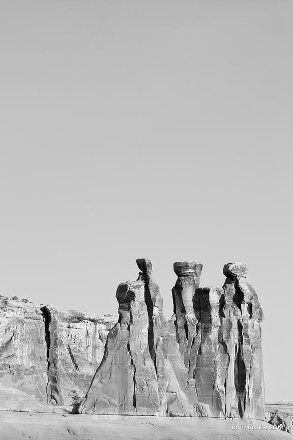 THREE GOSSIPS ARCHES NATIONAL PARK UTAH BLACK AND WHITE VERTICAL