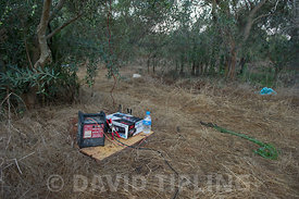Car radio sound system used to play birdsong in orchard to attract migrant songbirds for ambelopulia Cyprus autumn