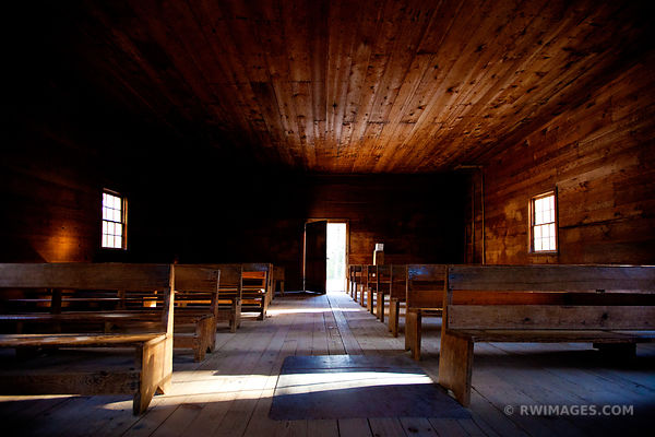 OPEN DOOR OLD CHURCH CADES COVE SMOKY MOUNTAINS COLOR