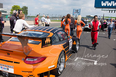 Trackspeed Porsche 997 GT3 R on the starting grid at the Silverstone 500 - the third round of the British GT Championship 2014 - 1st June 2014