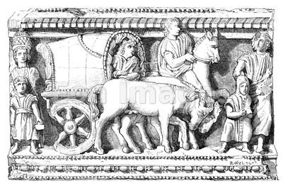 Roman family travel by carpentum