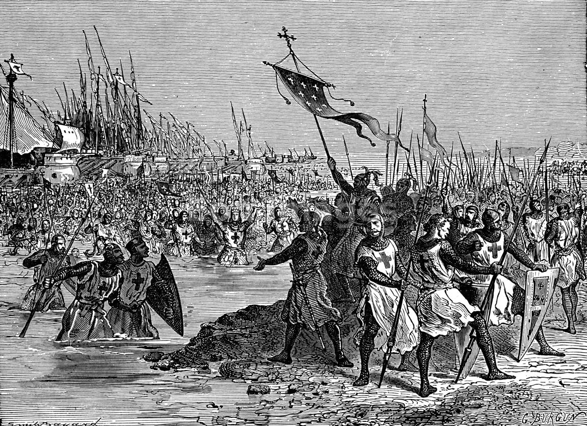 King Louis IX of France lands in Egypt