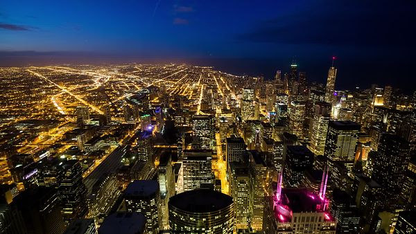 Bird's Eye: Creeping Darkness Over Chicago's Skyline