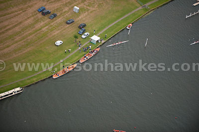 Aerial view of rowing boats on the River Thames, Berkshire