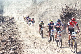 GENERAL VIEW, DUST WAS A MAJOR PROBLEM DURING THE MENS RACE AT HOUFFALIZE, BELGIUM. GRUNDIG WORLD CUP 1996